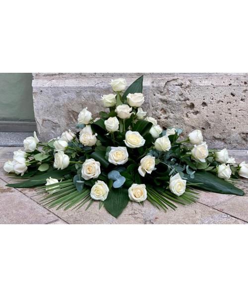 Palma 36 rosas blancas