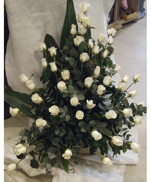 Centro decorativo rosas blancas