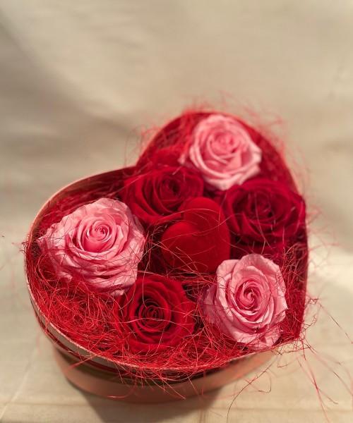 caja corazon rosa preservada