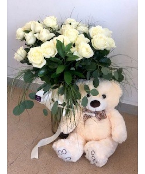 Nacimiento 24 rosas con muñeco y vidrio