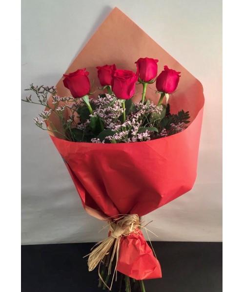 Rosas ramo 6 rosas rojas