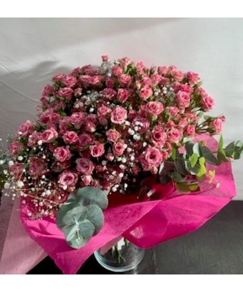 Ramo bouquet rosa ramificada con vidrio