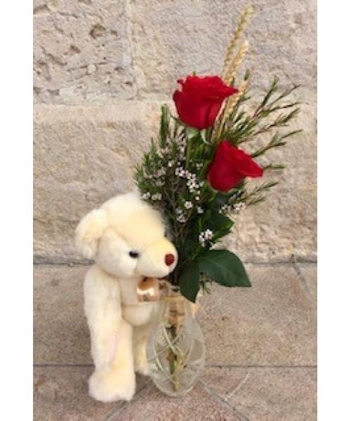 Rosa detalle de 2 rosas y osito