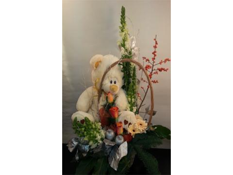 Centro Nacimiento con frutas, flor y detalle