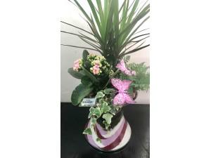 Jarrón de cristal decorado con plantas