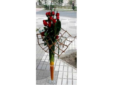 Rosas decoradas en vidrio